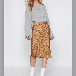 SPOTTY CHECK SATIN MIDI SKIRT